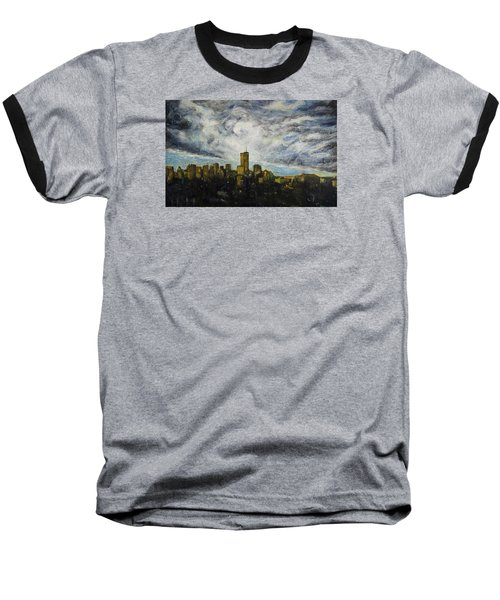 Baseball T-Shirt featuring the painting Dark Clouds Approaching 2 by Ron Richard Baviello