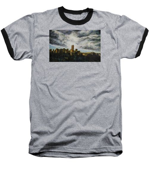 Baseball T-Shirt featuring the painting Dark Clouds Approaching by Ron Richard Baviello