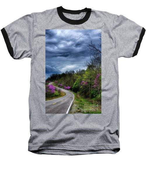 Baseball T-Shirt featuring the photograph Dark Clouds Over Redbud Highway by Thomas R Fletcher