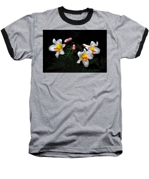 Baseball T-Shirt featuring the photograph Dark Day Bright Lilies by Byron Varvarigos