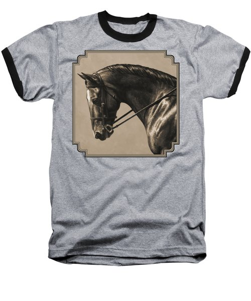Dark Dressage Horse Aged Photo Fx Baseball T-Shirt