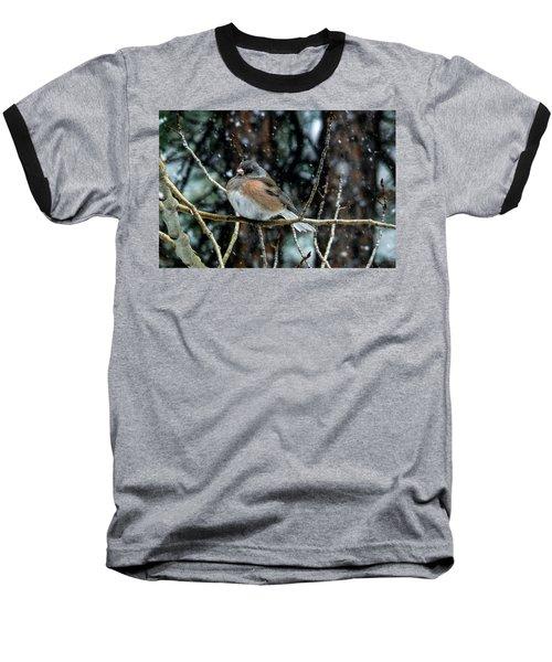 Dark-eyed Junco During A Snowfall Baseball T-Shirt