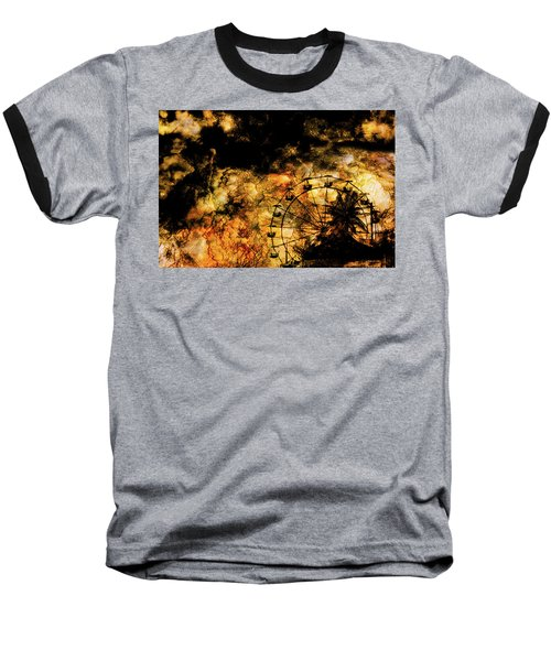 Dark Ferris Wheel Baseball T-Shirt