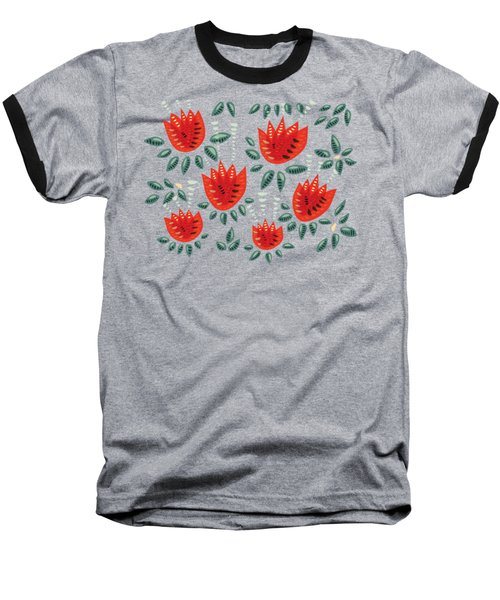 Dark Floral Pattern Of Abstract Red Tulips Baseball T-Shirt