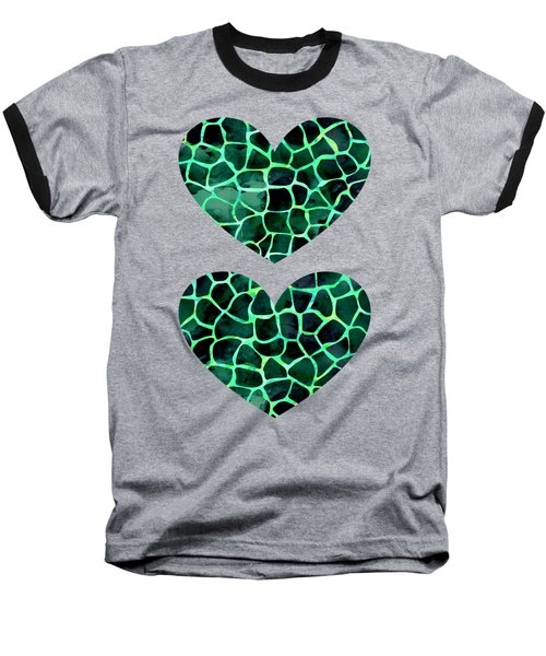 Dark Green Giraffe Print Baseball T-Shirt
