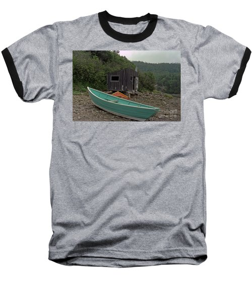 Dark Harbour Fisherman Shack And Boat Baseball T-Shirt