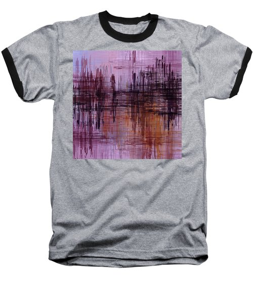 Dark Lines Abstract And Minimalist Painting Baseball T-Shirt by Ayse Deniz