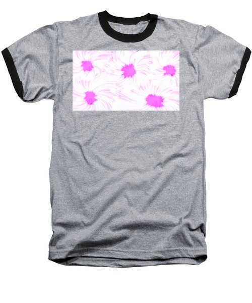 'dark Pink And White Flower Abstract' Baseball T-Shirt