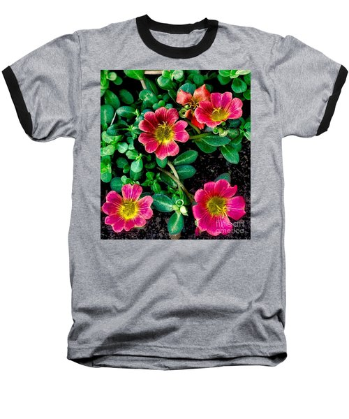 Dark Pink Purselane Flowers Baseball T-Shirt