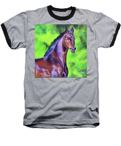 Dark Red Bay Horse Baseball T-Shirt