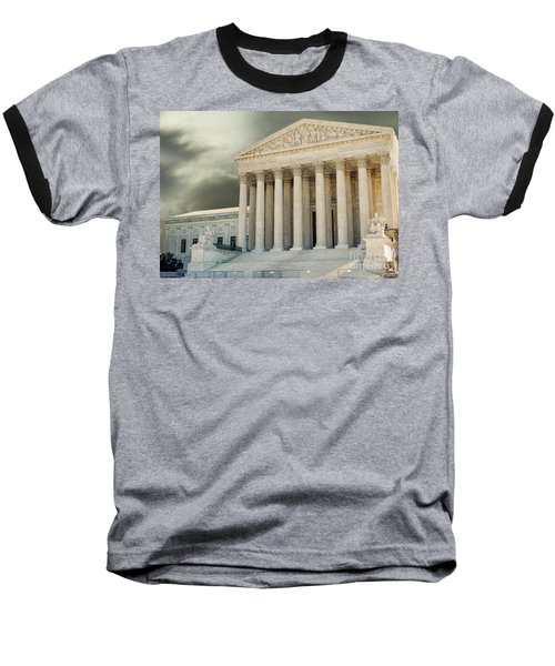 Dark Skies Above Supreme Court Of Justice Baseball T-Shirt by Patricia Hofmeester