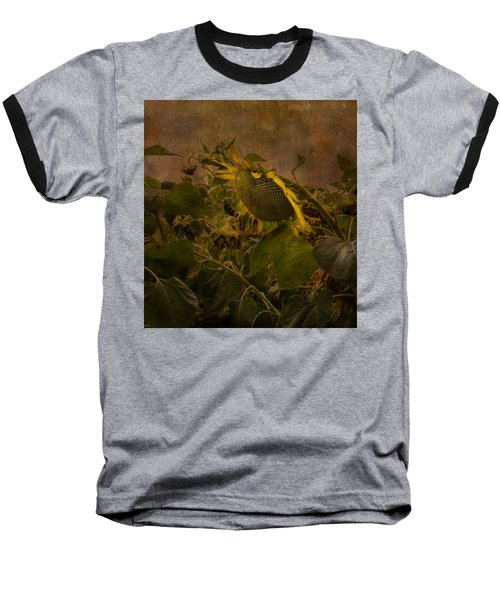 Dark Textured Sunflower Baseball T-Shirt
