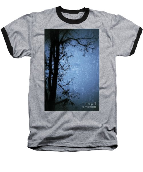 Dark Tree Silhouette  Baseball T-Shirt by Jason Nicholas