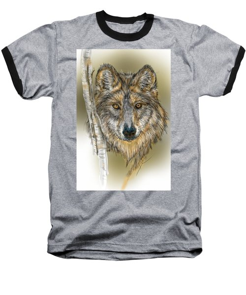 Dark Wolf With Birch Baseball T-Shirt