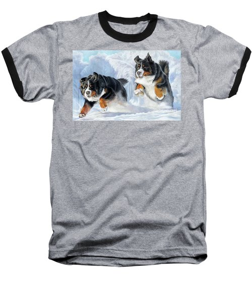 Baseball T-Shirt featuring the painting Dashing Through The Snow by Donna Mulley