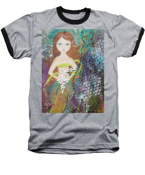 Baseball T-Shirt featuring the mixed media Daughter Of The Sea by Virginia Coyle