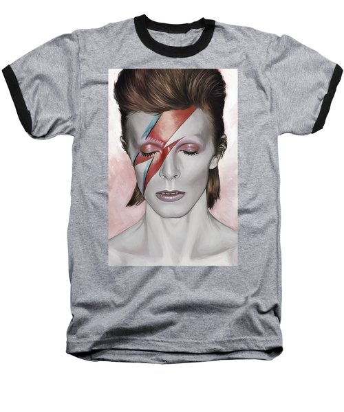 Baseball T-Shirt featuring the painting David Bowie Artwork 1 by Sheraz A