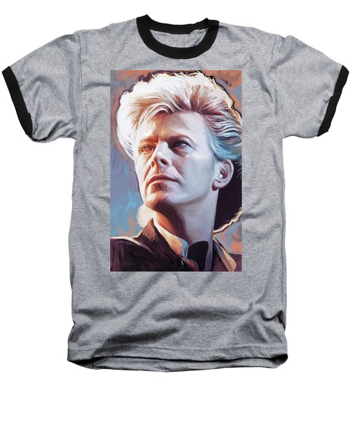 Baseball T-Shirt featuring the painting David Bowie Artwork 2 by Sheraz A