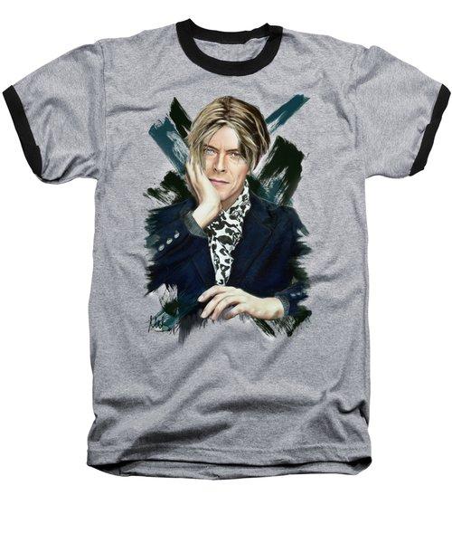 David Bowie Baseball T-Shirt by Melanie D