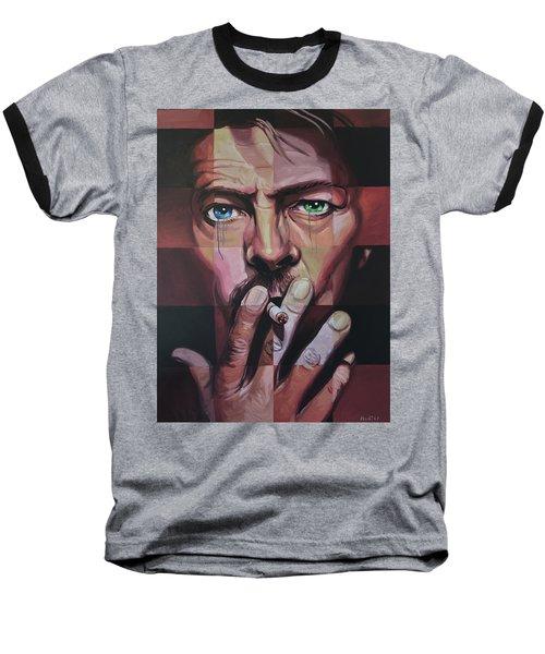 David Bowie Baseball T-Shirt by Steve Hunter