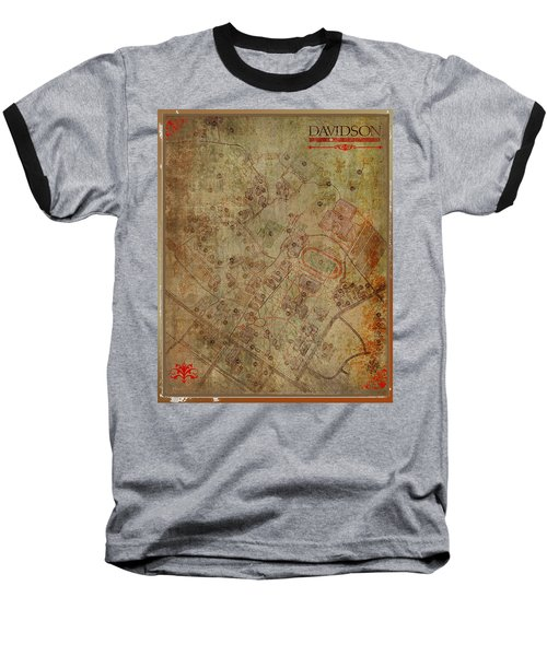 Davidson College Map Baseball T-Shirt