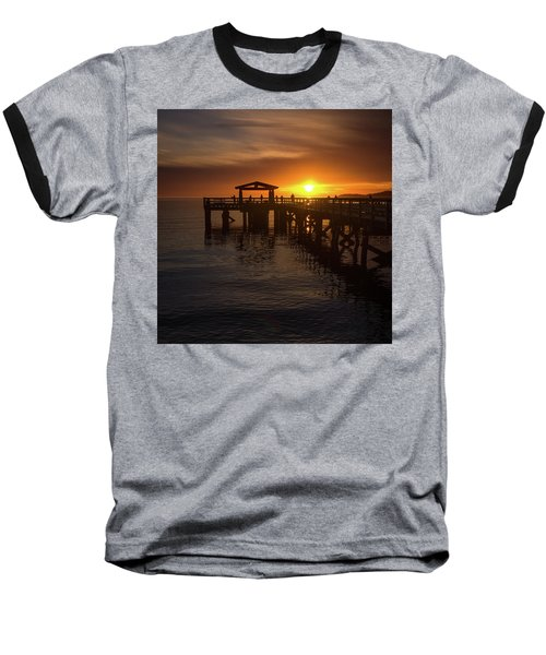 Davis Bay Pier Sunset 2 Baseball T-Shirt