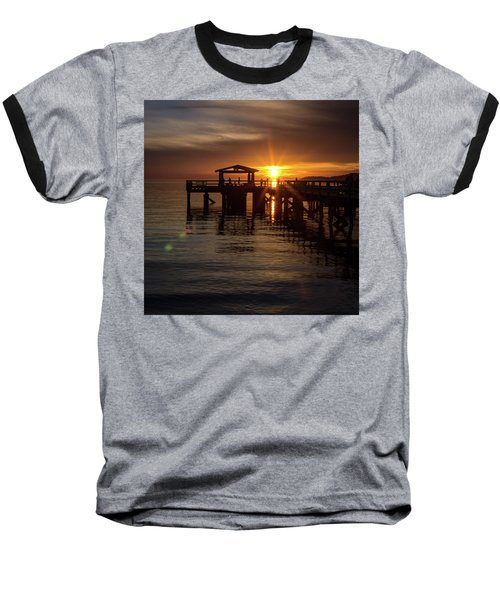 Davis Bay Pier Sunset Baseball T-Shirt
