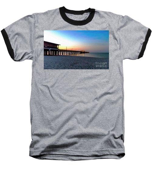Dawn At Gulf Shores Pier Al Seascape 1283a Digital Painting Baseball T-Shirt