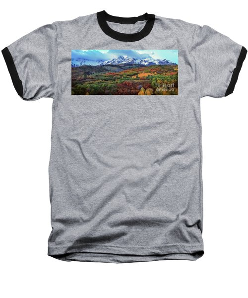 Dawn At The Dallas Divide Panoramic Baseball T-Shirt
