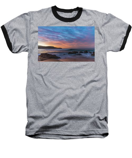 Dawn Seascape With Rocks And Clouds Baseball T-Shirt