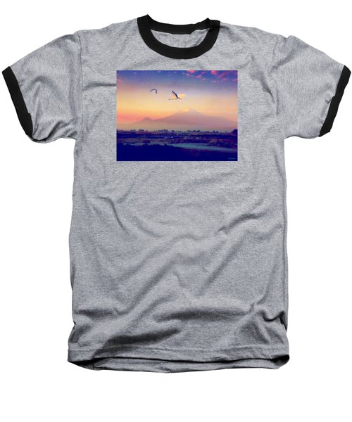 Dawn With Storks And Ararat From Night Train To Yerevan Baseball T-Shirt