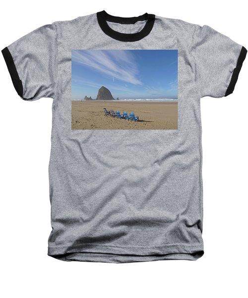 Day At Haystack Rock Baseball T-Shirt by Suzy Piatt