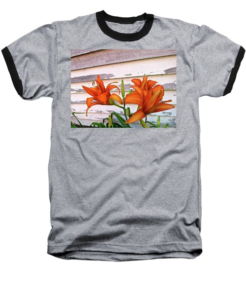Day Lilies And Peeling Paint Baseball T-Shirt by Nancy Patterson
