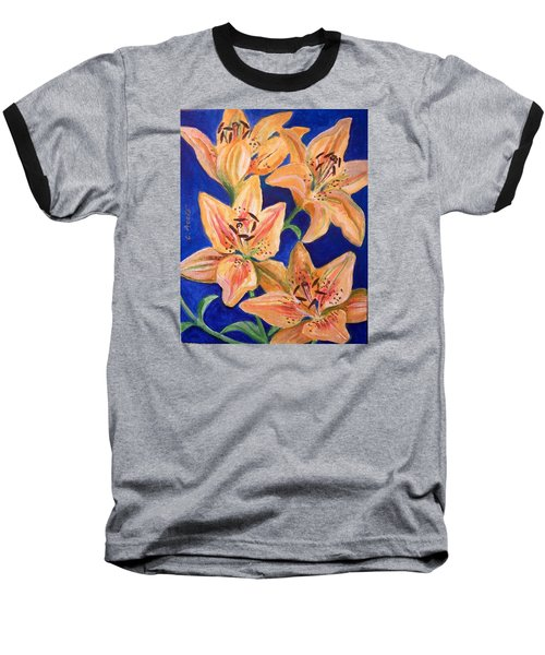 Baseball T-Shirt featuring the painting Day Lilies by Laura Aceto