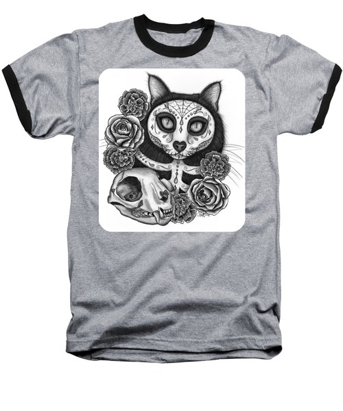Baseball T-Shirt featuring the drawing Day Of The Dead Cat Skull - Sugar Skull Cat by Carrie Hawks