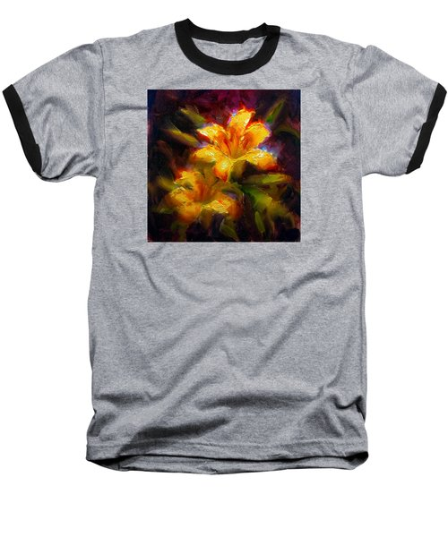 Baseball T-Shirt featuring the painting Daylily Sunshine - Colorful Tiger Lily/orange Day-lily Floral Still Life  by Karen Whitworth