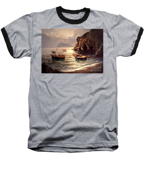 Day's End And Work Begins In The Gulf Of Naples Baseball T-Shirt
