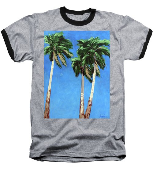 Baseball T-Shirt featuring the painting Daytime Moon In Palm Springs by Linda Apple