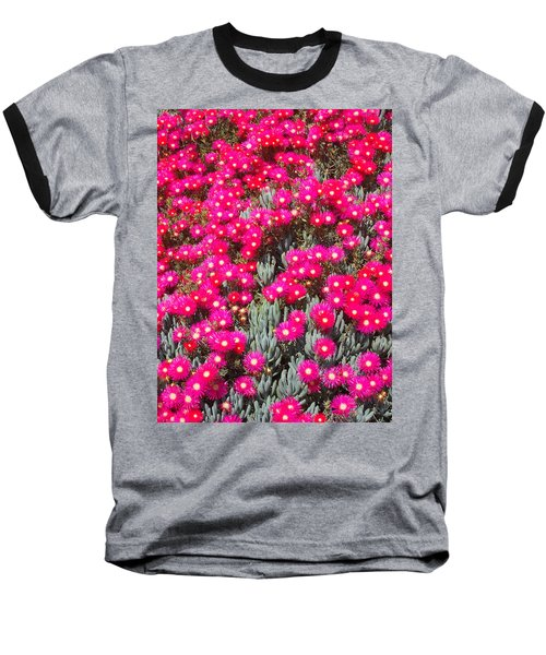 Dazzling Pink Flowers Baseball T-Shirt by Mark Barclay