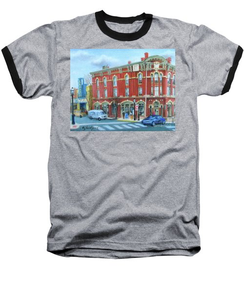 Baseball T-Shirt featuring the painting dDowntown Doylestown by Oz Freedgood