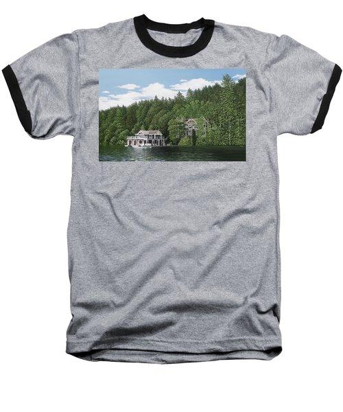 Baseball T-Shirt featuring the painting De Groote Summer Home Muskoka by Kenneth M Kirsch