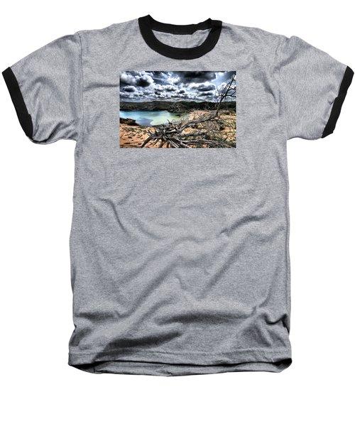 Dead Nature Under Stormy Light In Mediterranean Beach Baseball T-Shirt by Pedro Cardona