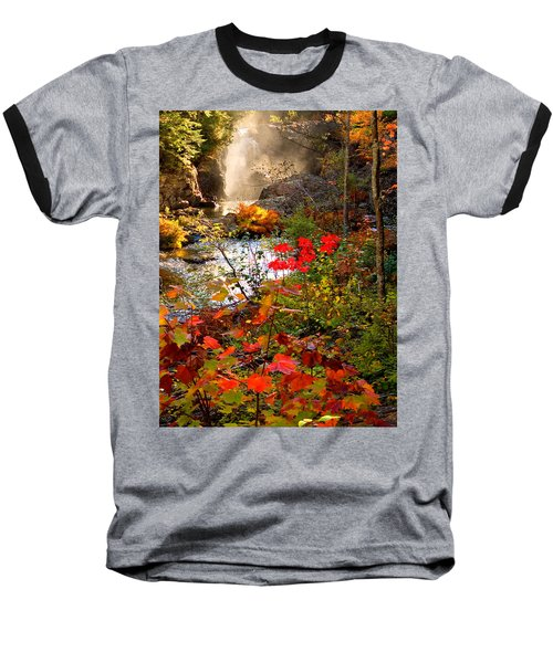 Dead River Falls Foreground Plus Mist 2509 Baseball T-Shirt