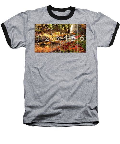 Dead River Falls Marquette Michigan Panoramic Map Baseball T-Shirt