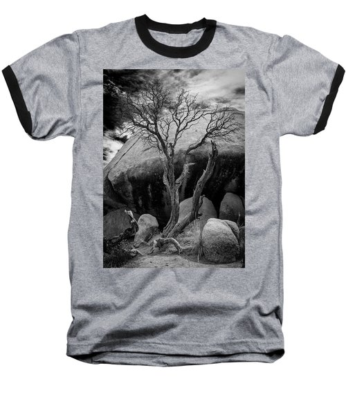 Dead Tree And Boulder At Joshua Tree Baseball T-Shirt