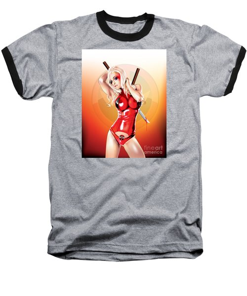 Baseball T-Shirt featuring the drawing Deadpool With Jen by Brian Gibbs