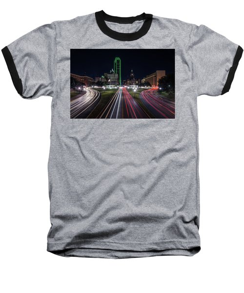 Dealey Plaza Dallas At Night Baseball T-Shirt