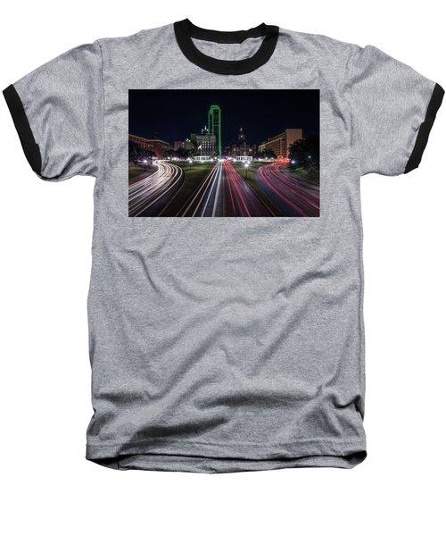 Dealey Plaza Dallas At Night Baseball T-Shirt