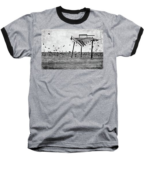 Baseball T-Shirt featuring the photograph Death Of A Friend - Frisco Pier Outer Banks Bw by Dan Carmichael