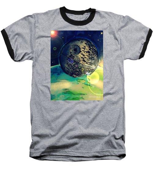 Death Star Illustration  Baseball T-Shirt by Justin Moore